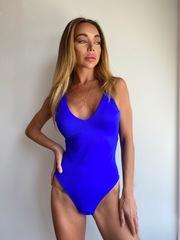 Слитный купальник синего цвета