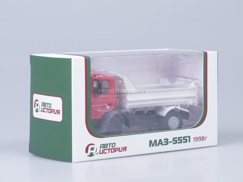 MAZ-5551 tipper later cabin 1988 low body red-white AutoHistory 1:43