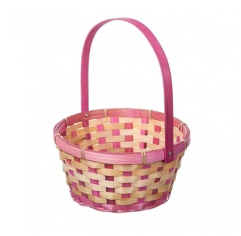 Корзина плетеная (бамбук), размер:D21хH24 см, цвет:розовый