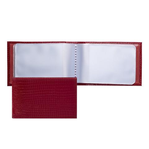 Визитница карманная Fabula Reptile на 40 визиток из натуральной кожи красного цвета (V.30.KK)