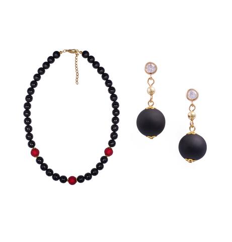 Комплект Giorno e Notte черно-красный (серьги, ожерелье)