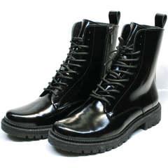Высокие черные ботинки на шнуровке женские зимние Ari Andano 740 All Black.