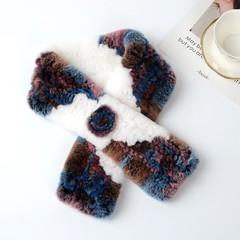 Вязаный меховой шарф-воротник (кролик) цветной