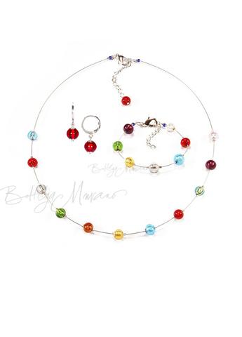 Комплект Estate серебристый (серьги красные Piccolo, ожерелье короткое, браслет)