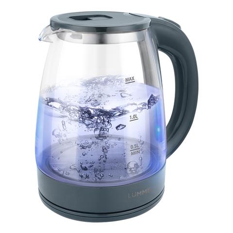 Чайник стеклянный LUMME LU-160 серый мрамор