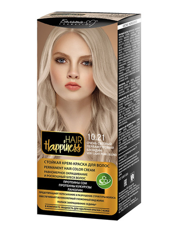 Белита-М Hair Happiness Крем-краска для волос аммиачная №10.21 светлый перламутрный блондин