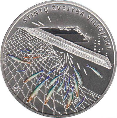 10 евро.  Ловля корюшки. Рыбалка. Литва. 2019 год. PROOF
