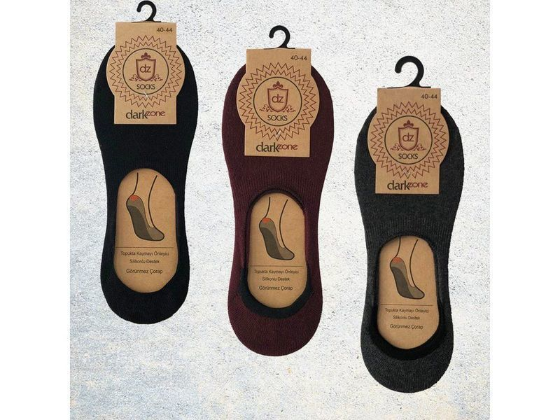 Носки-невидимки мужские - набор из 3 пар (бордовые, темно-серые, черные) DARKZONE DZCP3006
