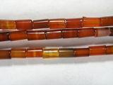 Нить бусин из сардоникса, термо обработанного, фигурные, 2x4 мм (цилиндр, гладкая)