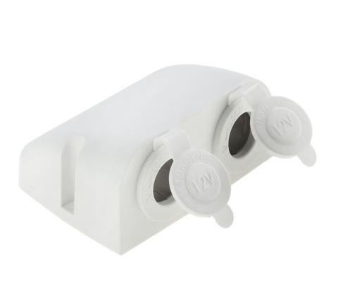 Разъем прикуривателя двойной для крепления на приборной панели, белый