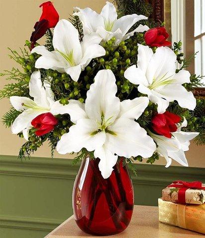Картина раскраска по номерам 30x40 Букет с лилиями в красной вазе