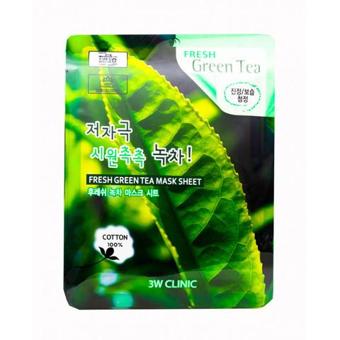 tkanevaya-maska-dlya-lica-zelenyj-chaj-fresh-green-tea-mask-sheet-3w-clinic.jpg
