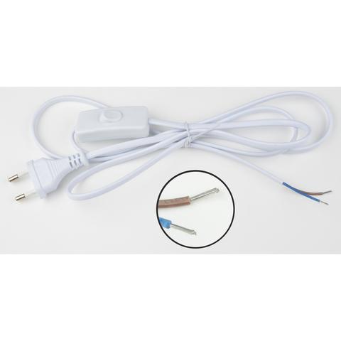 UCX-C10/01A-170 WHITE Сетевой шнур с вилкой и выключателем. 1А, 250Вт, 1,7м. Белый. ТМ Uniel