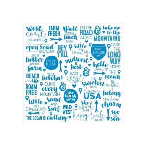 Ацетатный лист  30 х30 см - Discover USA Acetate - Aqua Foil Words