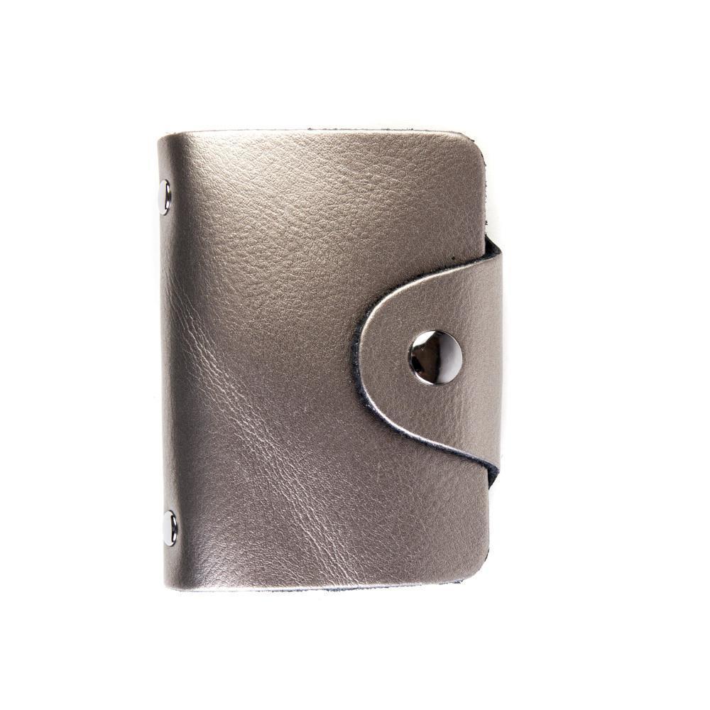 Визитница из натуральной кожи серебристая DoubleCity BC01 Silver