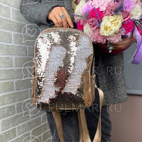 Рюкзак с пайетками меняющий цвет Пудровый-Белый модель Мila