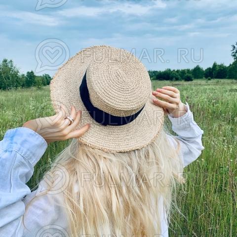 Бежевая соломенная женская шляпа канотье с черным бантом летняя Diva с рваными полями