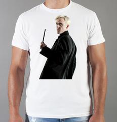 Футболка с принтом Гарри Поттер, Драко Малфой, Том Фелтон (Draco Malfoy) белая 006