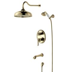 Душевая система Lemark Brava LM4722G встраиваемая с верхним душем, лейкой и шлангом, золото