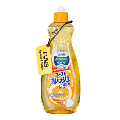 Жидкость для мытья посуды овощей и фруктов свежий апельсин FUNS 600 мл