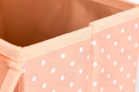 Малый складной кофр, 24*15*15 см (розовый в горошек)