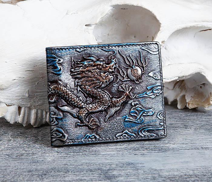 WL293-3 Крутой кошелек с объемным китайским драконом