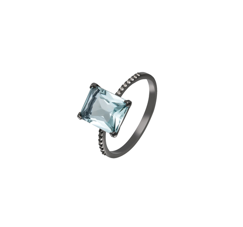 Кольцо с голубым топазом в чернении