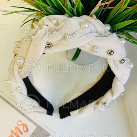 Широкий бархатный ободок для волос на голову с искусственным жемчугом Бежевый