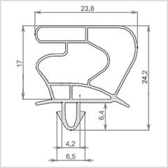 Уплотнитель для холодильного шкафа Derby EXPO 48BCD2 (стеклянная дверь) Размер 1580*580 мм (023)