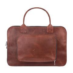 Коричневая кожаная сумка Gmakin для MacBook
