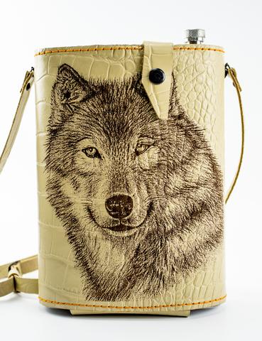 Фляга в кожаном чехле Волк, 2 л