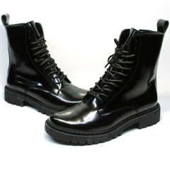 Черные кожаные ботинки женские зимние Ari Andano 740 All Black.
