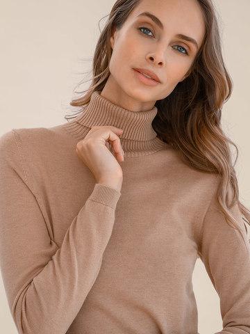 Женский свитер бежевого цвета из шерсти и шелка - фото 3