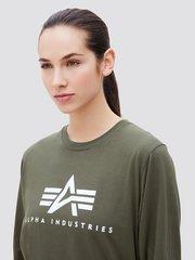 Лонгслив Alpha Industries Basic Logo Olive Женский (Зеленый)