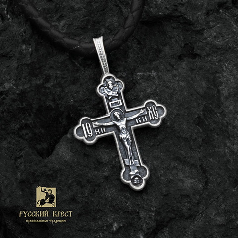 Нательный крестик православный серебряный Трилистник
