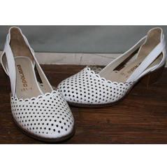 Летние туфли на низком каблуке Evromoda 101-6 White.