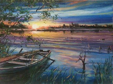 Картина раскраска по номерам 40x50 Закат над рекой