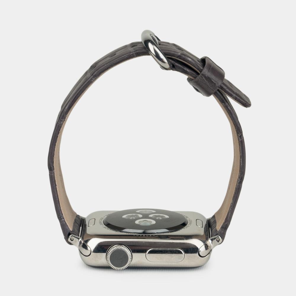 Ремешок для Apple Watch 42/44мм ST Classic из натуральной кожи крокодила, серого цвета
