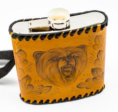 Фляга «Медведь», натуральная кожа с художественным выжиганием, 500 мл, фото 3