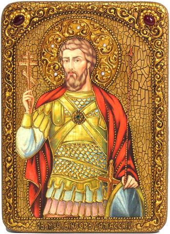 Инкрустированная Икона Святой мученик Виктор Дамасский 29х21см на натуральном дереве, в подарочной коробке