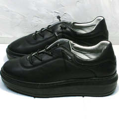 Модные сникерсы кроссовки женские черные кожаные Rozen M-520 All Black.