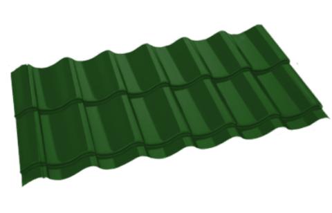 Металлочерепица Арарат Полиэстер RAL 6002 Зеленый лист 0,45 мм
