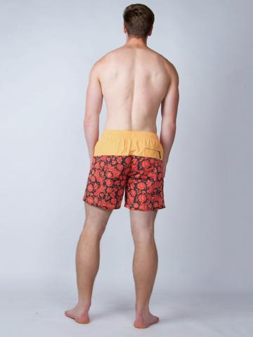 Винтажные пляжные шорты «Красно-жёлтая хохлома»