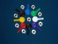 Комплект F9012/3 из металлической кнопки и цветной оболочки для нее, цвет - фиолетовый, вывод под кабель 3,2мм (150руб/шт)