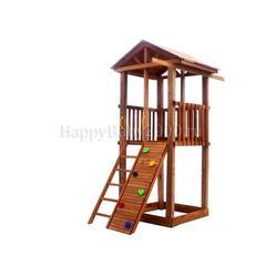 Детская площадка М2-0 с узким скалодромом и деревянной крышей