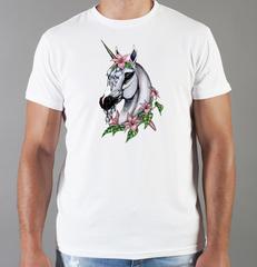 Футболка с принтом Единорог (Unicorn) белая 0011
