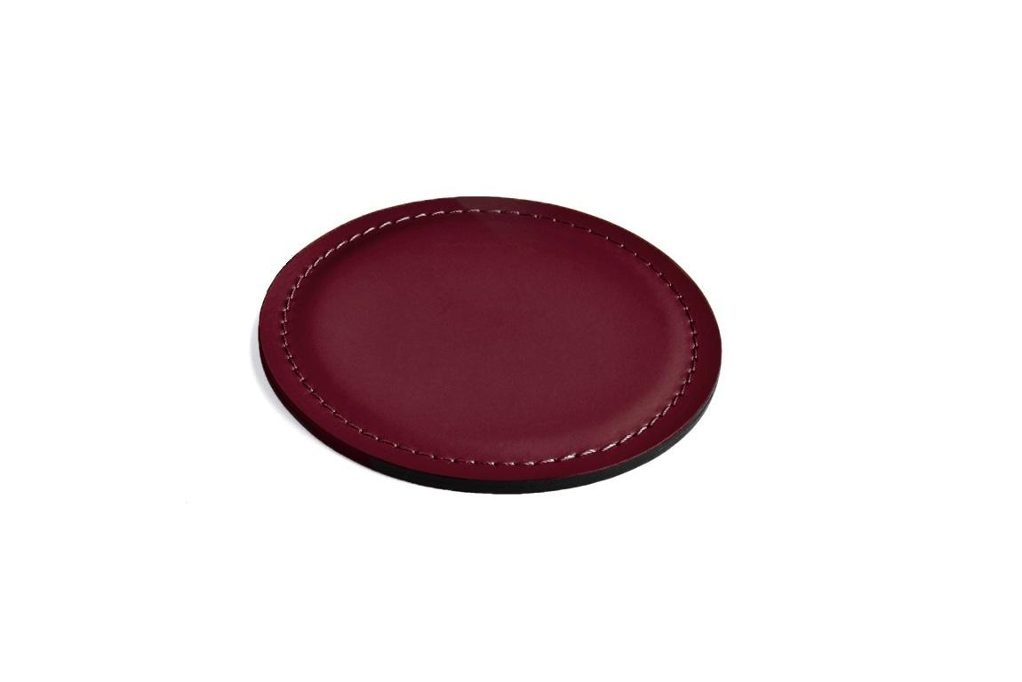 Кожаный костер - подставка для стакана цвет БОРДО