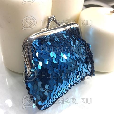 Кошелёк для девочки в двусторонних пайетках меняет цвет голубой-серебристый