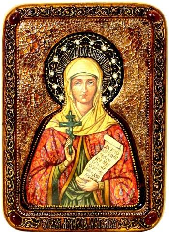 Инкрустированная живописная икона Святая Мученица Наталия Никомидийская 29х21см на натуральном кипарисе в подарочной коробке