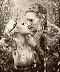 Картина раскраска по номерам 40x50 Черно-белые влюбленные